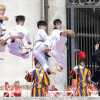 Taekwondo athletes from Korea perform for Pope Francis during the Wednesday general audience in Saint Peter's square at the Vatican, May 30, 2018. REUTERS/Max Rossi/2018-05-30 17:24:26/