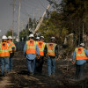 PG&E crews repair damaged power lines caused by the Tubbs Fire in Santa Rosa, Calif.,on October 12th, 2017.